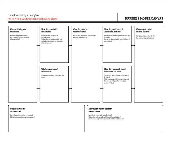 20 business model canvas template pdf doc ppt free premium clear plan business model canvas flashek