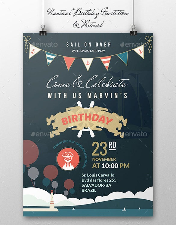 birthday program postcard template free download
