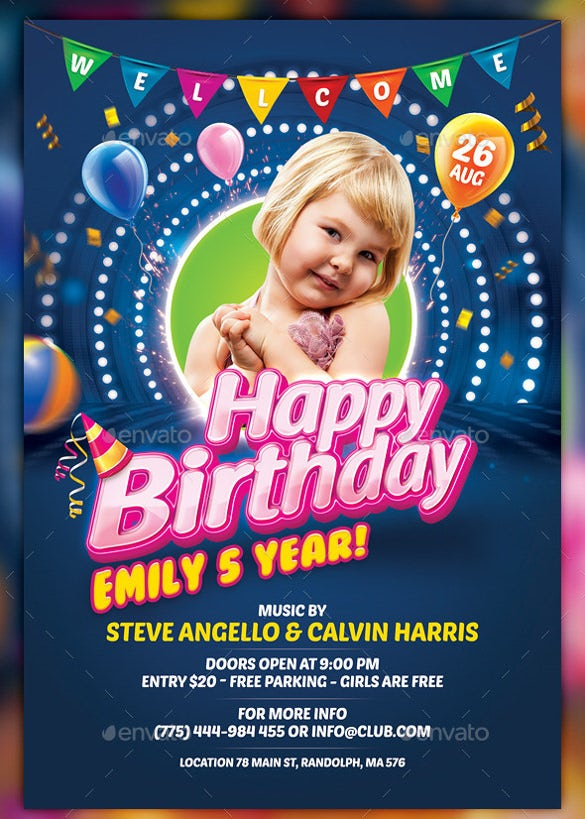 birthday program flyer template free download