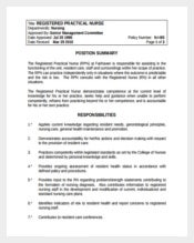 Registered Practical Nurse Example Template Free