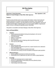 Bank Teller Manager Example Job Description Free