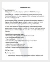 Public Relation Intern Sample Job Description PDF Free