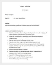 Payroll Supervisor Job Description Template Word