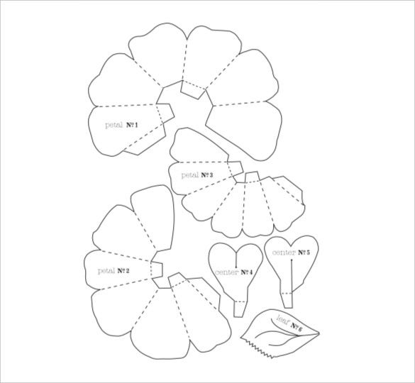 20 flower petal templates pdf vector eps free for Free printable paper flower templates