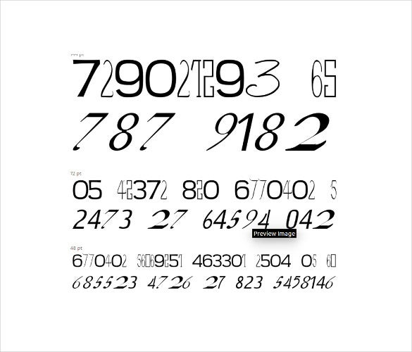 numbers font on white background download