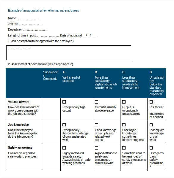 Doc693951 Appraisal Document Template Doc638903 Appraisal – Monthly Appraisal Form