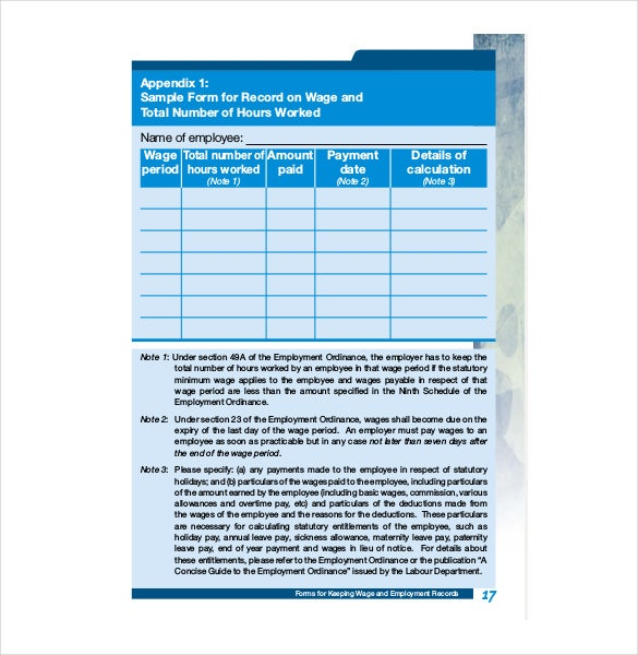 Employee Statutory Holiday Record Template PDF File
