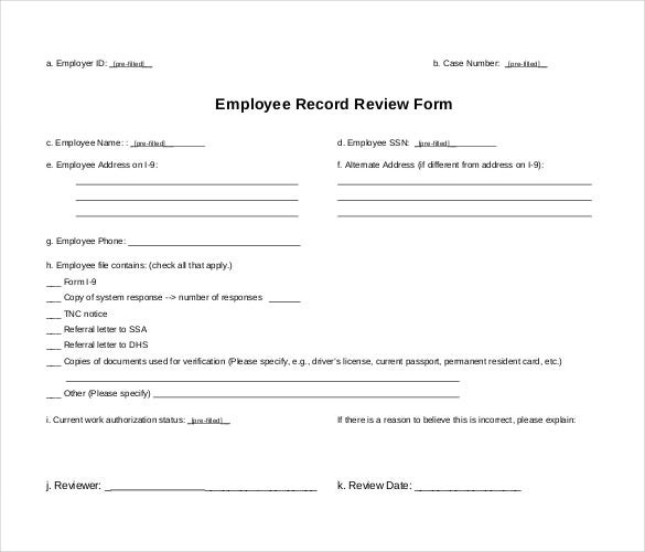 employee record review form pdf download