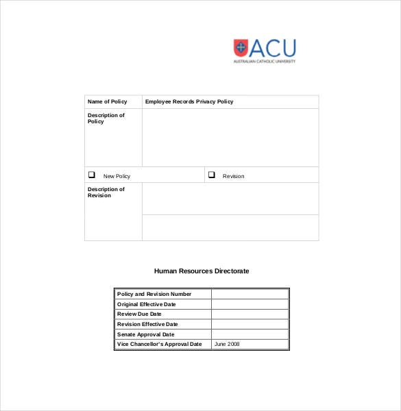 Employee record templates 26 free word pdf documents for Corporate privacy policy template