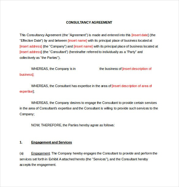 Sample Consulting Contract Template Printable Social Media Contract