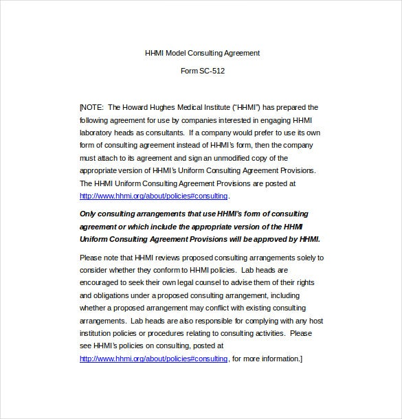 hhmi model consulting agreement