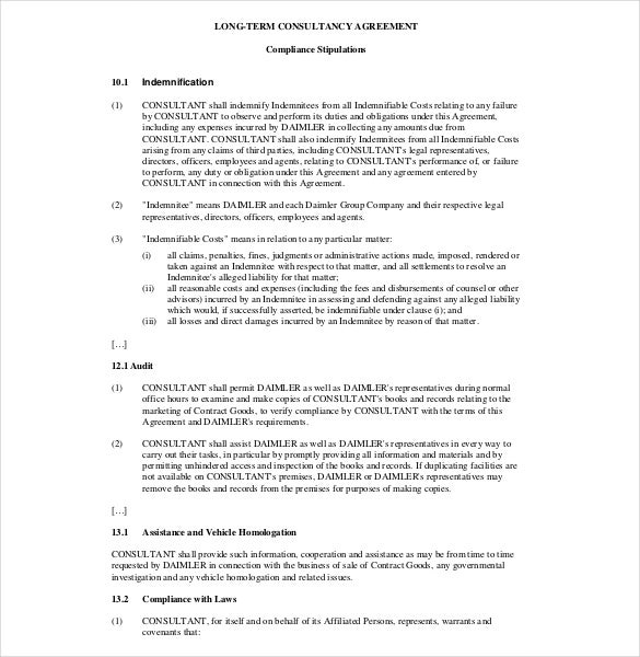 Consulting Agreement Template   Free Word  Document