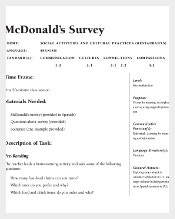 McDonald's Restaurant Survey Template PDF