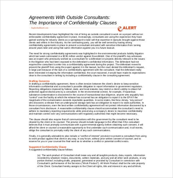 outside consultants agreements