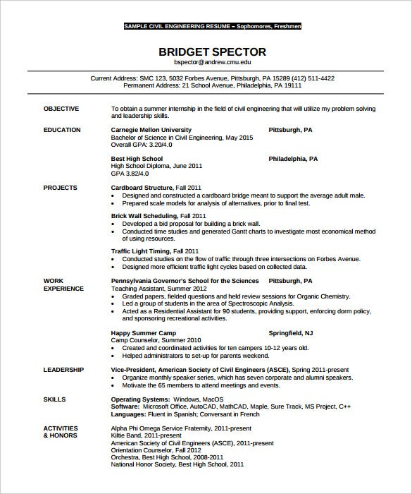 Sample Civil U0026 Environmental Engineering Resume Template Download