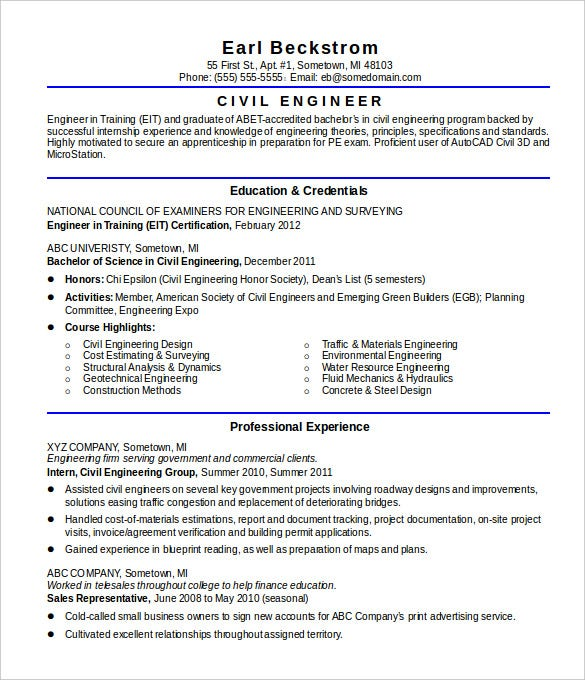 16+ Civil Engineer Resume Templates – Free Samples, PSD, Example ...
