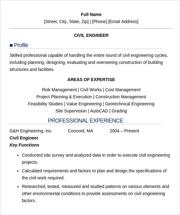 Civil Engineer Resume With Professional Experience Example Printable  Example Of Professional Resume