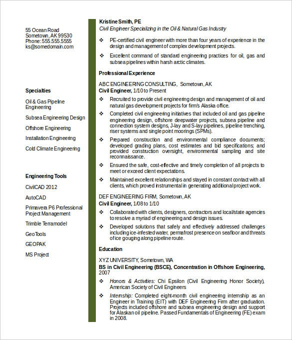 sample midlevel civil engineer resume template