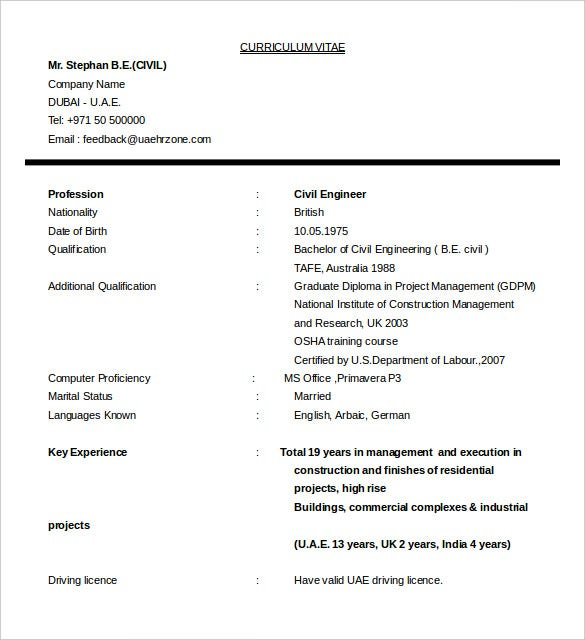 Sample CV  Civil Engineer Construction Manager Download For Free  Civil Engineering Student Resume