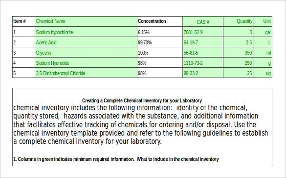 Chemical Inventory Template Free Word Excel Documents - Commercial invoice template excel free download online vapor store