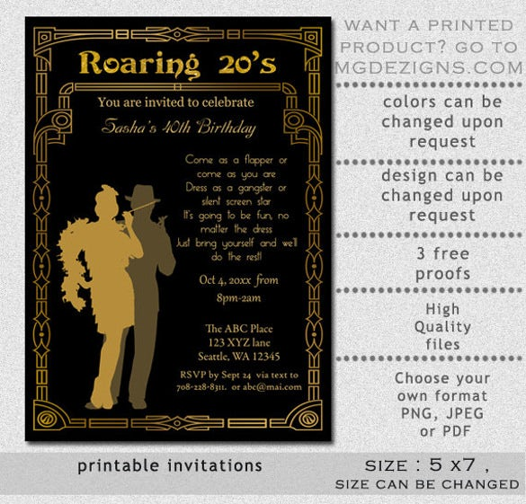 Printable Gold Black Birthday Party Email Invitation Template
