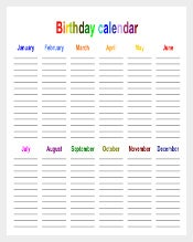 Birthday Calendars in Landscape Orientation download