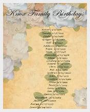 Family Birthday Calendar Template Free