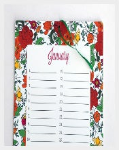 Floral Print Birthday Calendar Download