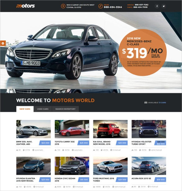 modern car dealership wordpress theme