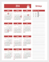 Yearly Birthday Calendar List Template free