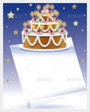 Birthday Cake With White Banner Template free