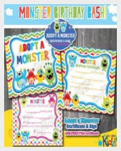 Monster Birthday Certificate Template free