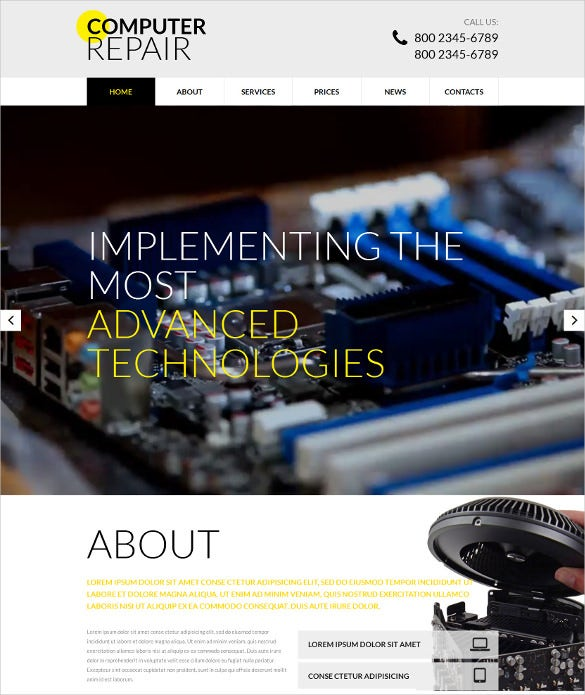premium computer repair responsive website template