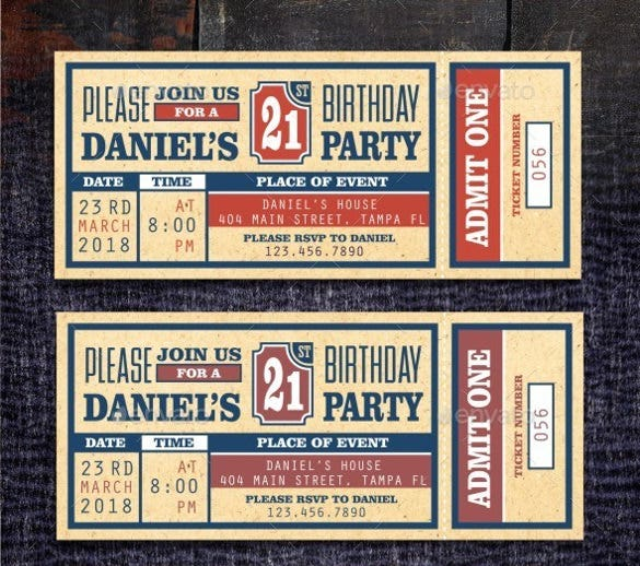 birthday party ticket invitation