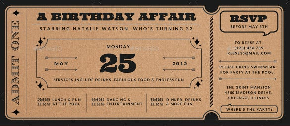 Ticket Invitation Template - 61+ Free Psd, Vector Eps, Ai, Format