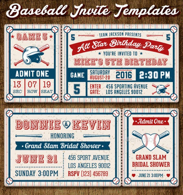 baseball ticket party invites