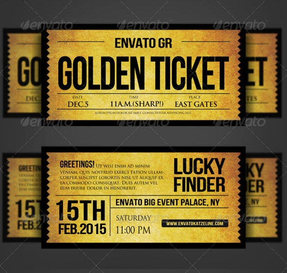 Golden Silver Ticket Corporate Invitation  Movie Ticket Invitations Template