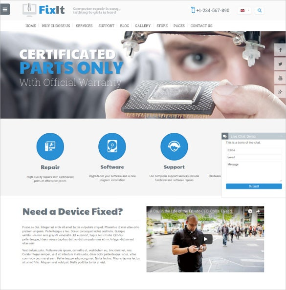 perfect computer repair website template