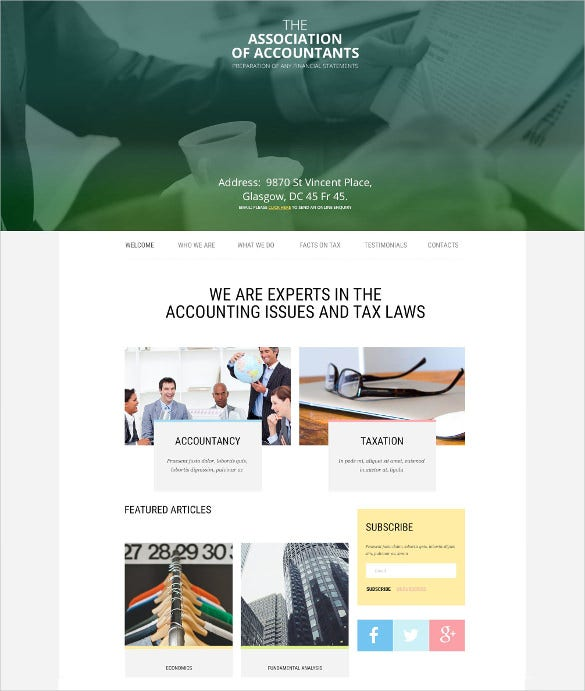 business accountant general website template