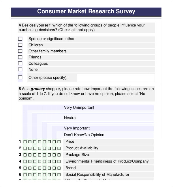 Marketing Research Survey Template to help the business grow