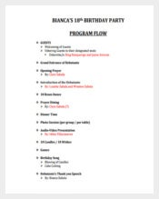 8th Birthday Party Program PDF Template