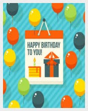 Vector flat Modern Postcardy Birthday Postcard