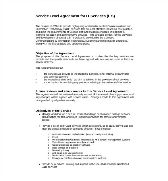 service level agreement for it services