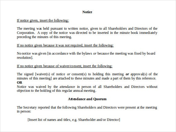 notice of annual meeting of shareholders directors free doc