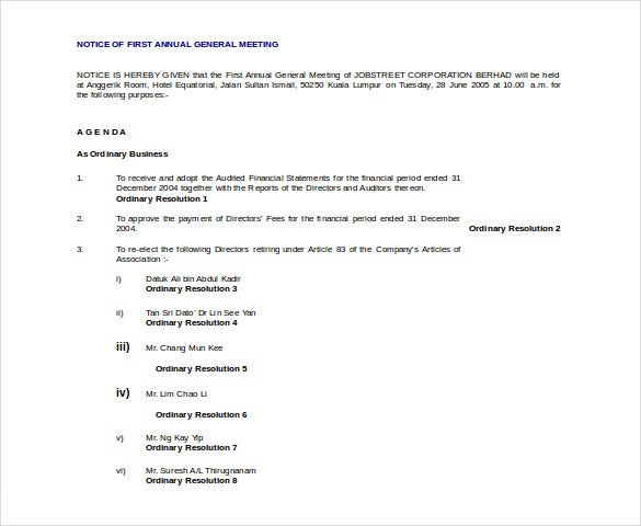 29 notice of meeting templates pdf doc ppt free premium notice of first annual general meeting template altavistaventures Gallery