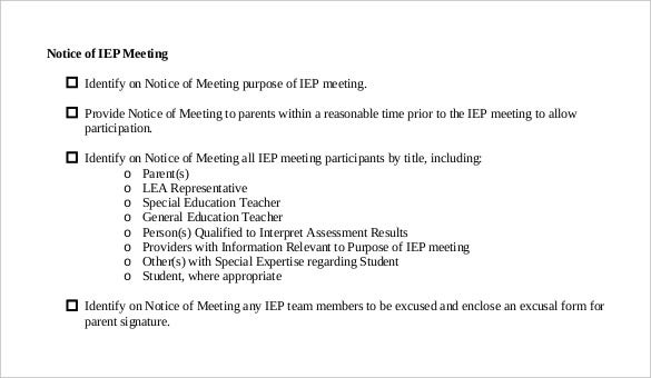 Notice of meetings 29 free word excel ppt pdf documents free download pdf format notice of iep meeting spiritdancerdesigns Images