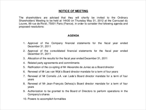 notice of meeting free download pdf template