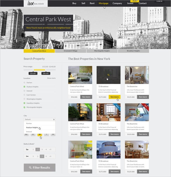 Huge U0026 Unique Real Estate Mortgage HTML Website Template $18  Mortgage Templates