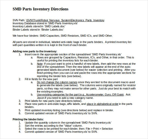stored database inventory document download