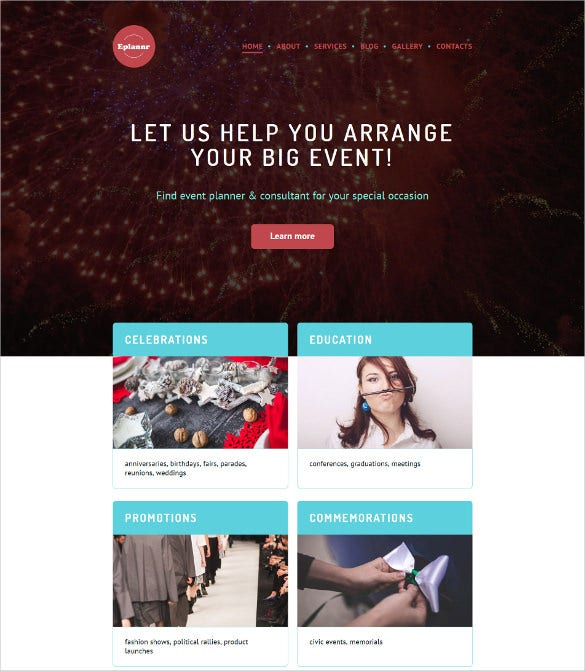 event planner wordpress php website theme